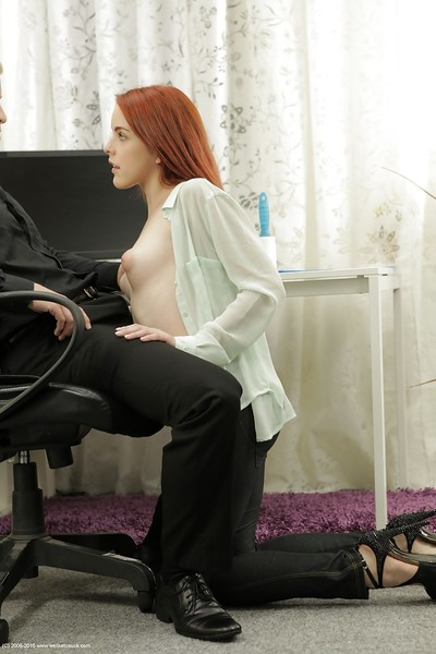 Redhead naive gal Amarna Miller is playing with boss