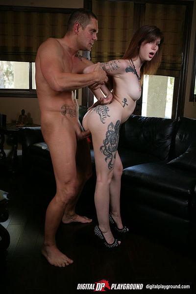 Tattooed courtesan enjoys a major massive boner filling her tense twat and set gorge