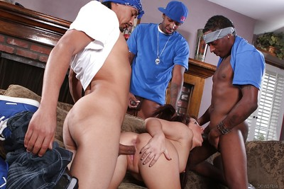 Interracial orgy features cute hottie Casey Cumz and some dick-holders