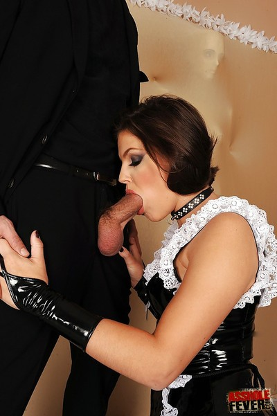Bawdy Bobbi Starr in the uniform has her hirsute anus dug