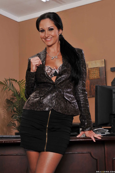 MILF hottie with vast marangos Ava Addams widening legs in office stripped