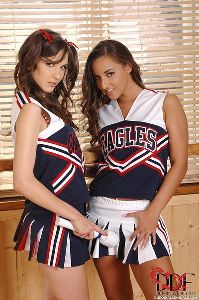 European cheerleaders Amirah & Candy Pretty toying girl-on-girl love-cages