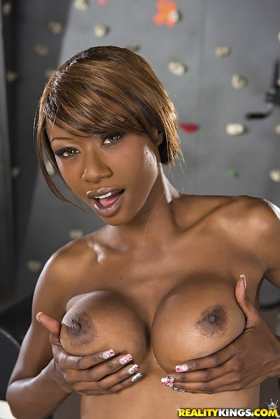 Titsy ebon girl Alana Doll striptease off her sport outfit and underclothing