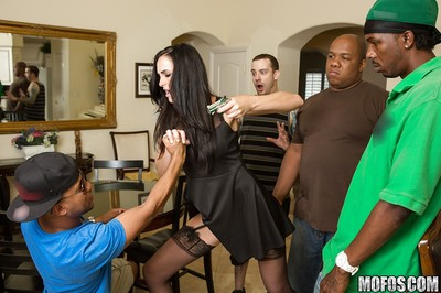 Vampish dark hair MILF in  blows and bonks a massive ebon rod