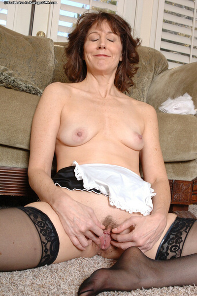 Lusty mellow woman servant exposing her nylon  feet and unshaved cage of love