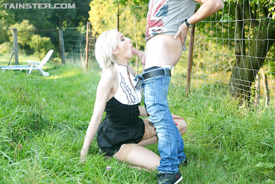Horny golden-haired in stockings enjoys thoroughly covered twatting outdoor