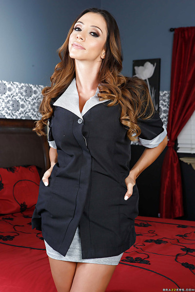 Untamed housewife slave Ariella Ferrera takes off her unifrom and seduces every person