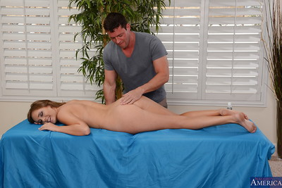 Major milk shakes brunette hair Alexis Adams is receiving a hardcore massage