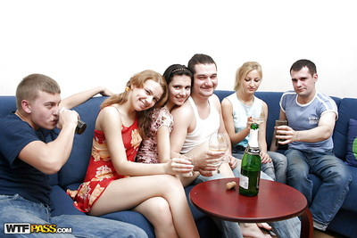 Jism concupiscent coeds play a drunk groupsex gathering with sexually aroused pals