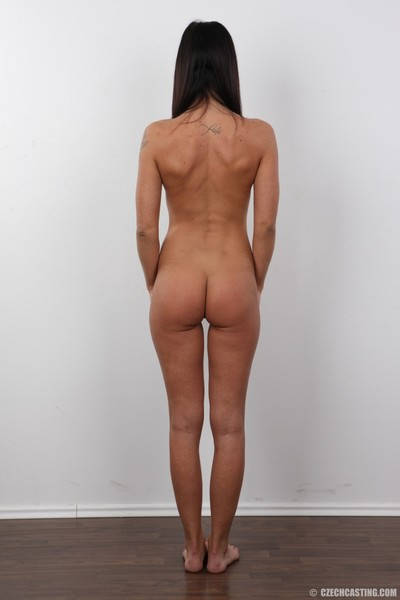 Extreme grown brown hair standing naked