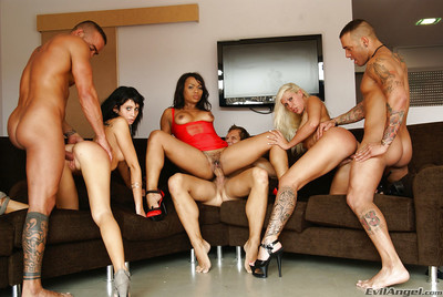 Lecherous MILFs play hawt interrracial groupsex with hung chaps