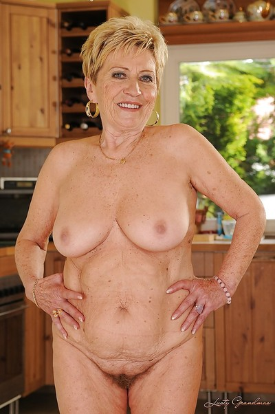 Lecherous golden-haired aged with ample booty obtains rid of her underware