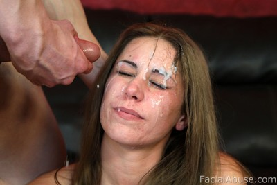 Teen acquires heartless facial spunk flow