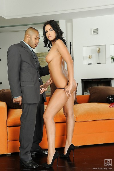Lioness is attracted to interracial very and getting spunk in her gorge