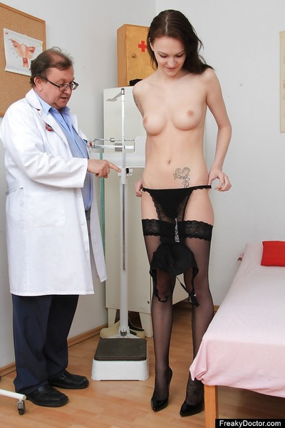 Gigantic tit meager brown hair Belle is at the gyno exam with her wet crack