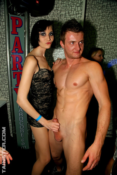 Huge amount of sticky and insane beauties engulf and fuck chap strippers