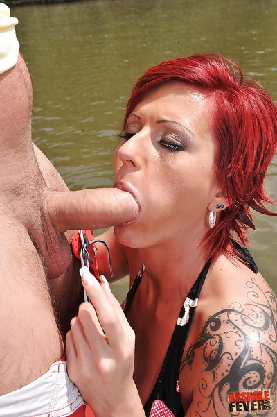Hardcore backdoor sexual act outdoor with a rounded redhead Patricia Gold