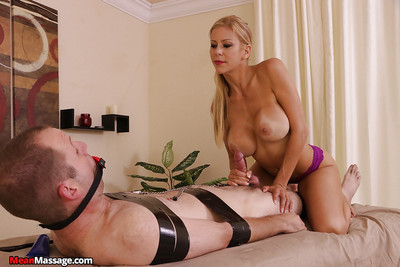 Rounded fairy MILF masseuse flagellation and jerking snake in femdom scene