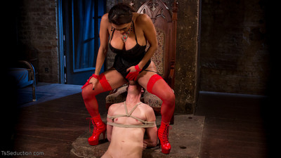 Unnatural girls female-dominant drills her fastened pony dude sub intense and gives him a soggy juicy c
