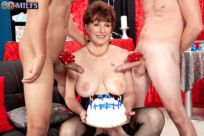 Bea s 70th Birthday Surprise: Dual Weenies For Her Ass!