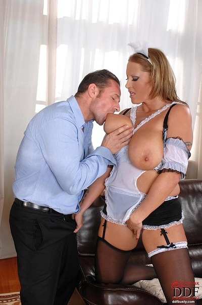 Fatty MILF in woman servant uniform showing off her unfit tits and acquires nailed