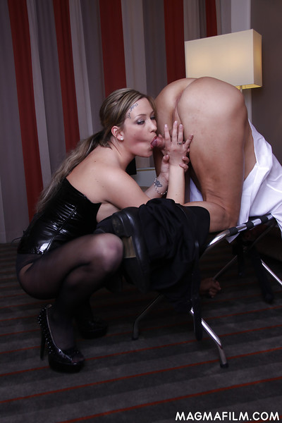 Master blond mastix Ana Montana giving a oral sex and prostate play a cane