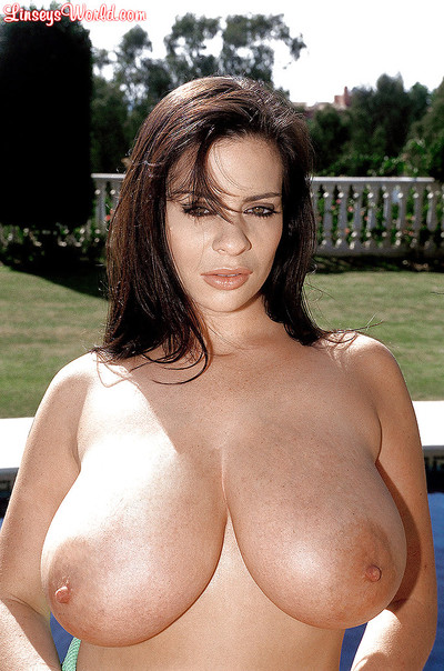 Linsey Dawn McKenzie - MILF in the pool with damp giant tits.
