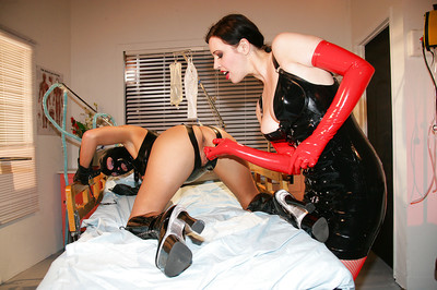 Non-traditional Sadomasochism lezdom banging with boobsy latex attired lesbian chicks in boots and cover