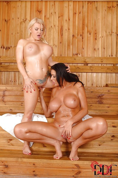 Fatty with immense apples Tiffany Kingston is licking her collaborator Ava Koxxx