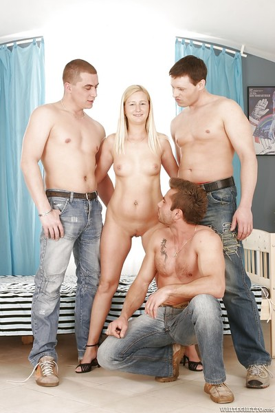 Sexually excited fairy-haired with miniscule love muffins is keen to hardcore groupsex with 3 men