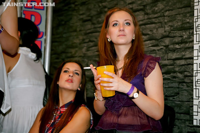 Sassy amateurs getting raunchy and untamed at the drunk night get-together