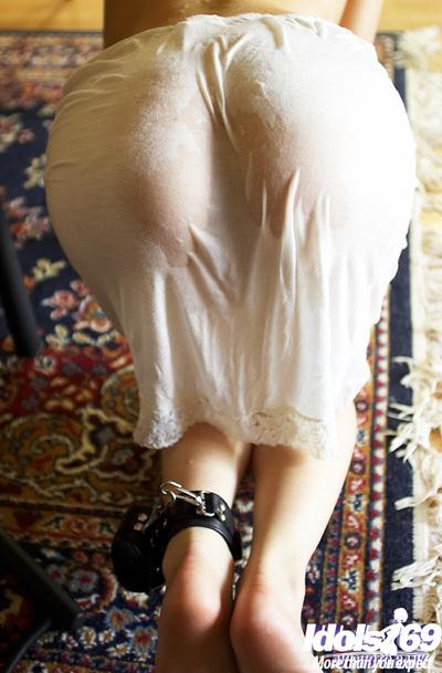 Slave Japanese princess Karen Kisaragi posing merely covered