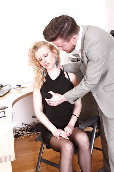 European office cunt Anita Vixen receives dug by her fascinating boss