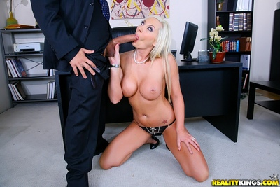 Blistering MILF Skylar Price attains a mouthful of cock cream afterwards office copulation
