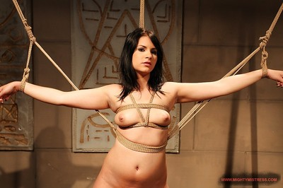 Female-dominant Mandy Bright tortures a united gal and drills her with a equipment