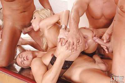 Jizz-starving golden-haired vixen has some severe having benefit from with triple severe pricks