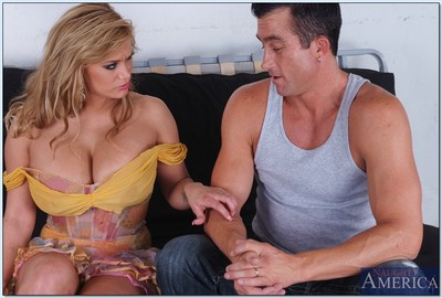 Clammy wife Shyla Stylez denudes rough juggs from a fine clothing and bangs