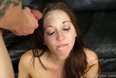 Teen accepts merciless facial spunk flow