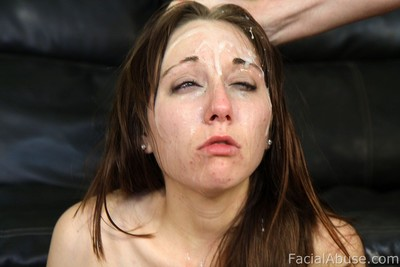 Teen accepts merciless facial spunk flow