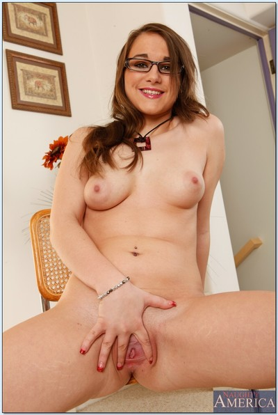 Slimy coed in glasses Tiffany Paige striptease and widening her legs