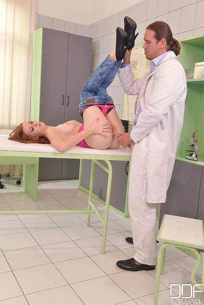 Euro redhead in jeans is exposed by doctor for hardcore ass hole smokin