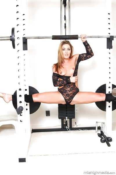 Bendable fairy MILF Sheena Shaw working out in leg warmers and bodystocking