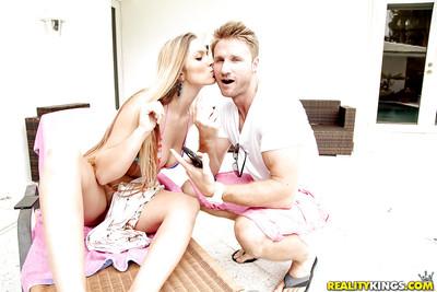Boobsy blond girlfriend Layna Landry having trimmed wet crack fingered by bf