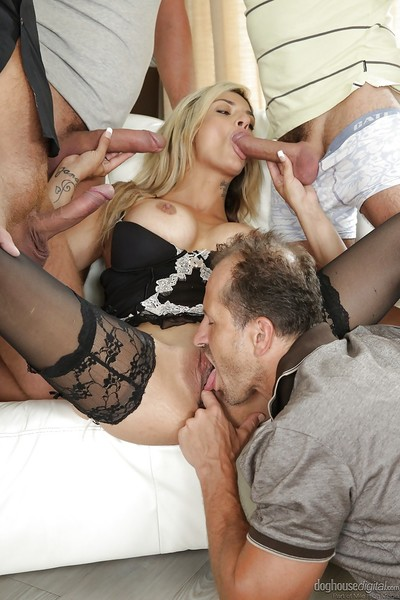 Milf Klarisa Leone was bonked by gang of lustful vast pricks in close-up