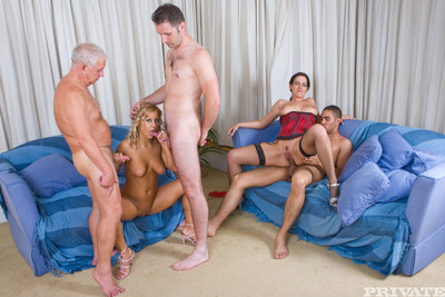 Amanda and ellia accept drilled in a sexy groupie and trade collaborators