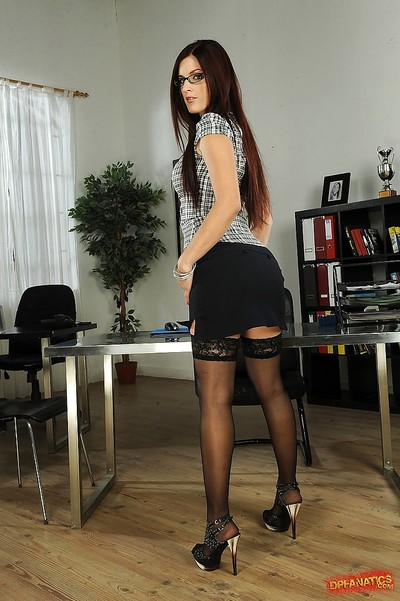 Alluring curvy secretary in glasses Mira erotic dancing in the office