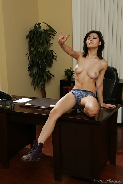 Ample-breasted princess with furry cooter undressing and swelling her legs