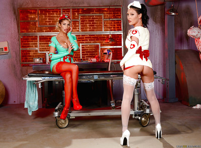 Untraditional latex lesbian chicks August Ames and Starri Knight modelling nurse uniforms