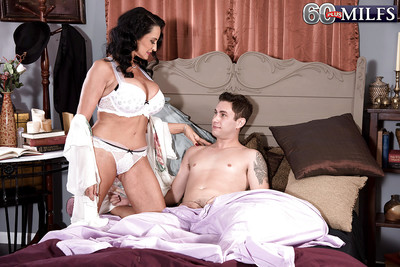 Melodious dark hair MILF Rita Daniels fascinating anal in MMF Male+Male+Female