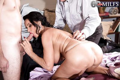Melodious dark hair MILF Rita Daniels fascinating anal in MMF Male+Male+Female